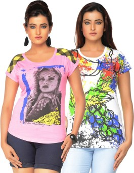 Jazzup Printed Women's Round Neck T-Shirt Pack Of 2