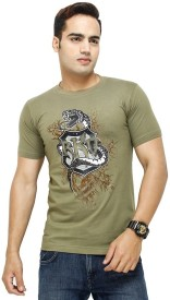 Trendmakerz Printed Men's Round Neck Green T-Shirt