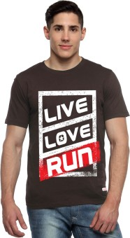 ADRO Printed Men's Round Neck Brown T-Shirt - TSHEGG5VF4HJWHZ6