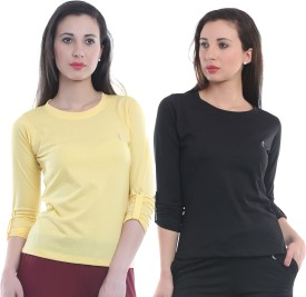 Ultrafit Solid Women's Round Neck Yellow, Black T-Shirt Pack Of 2