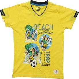 Kothari Printed Boy's V-neck Yellow T-Shirt
