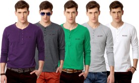 Rodid Solid Men's Henley Purple, Grey, Green, Grey, White T-Shirt Pack Of 5