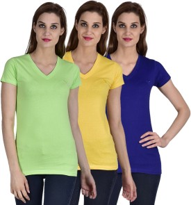 Youthen Solid Women's V-neck Blue, Green, Yellow T-Shirt Pack Of 3