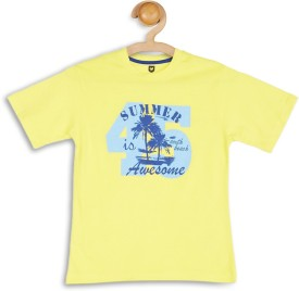 612 League Graphic Print Boy's Round Neck Yellow T-Shirt