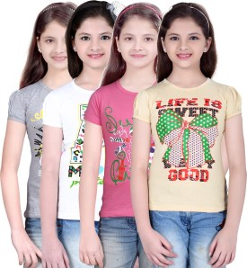 Sinimini Printed Girl's Round Neck Silver, White, Pink, Beige T-Shirt Pack Of 4