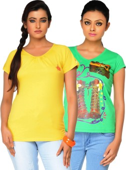 Jazzup Printed Women's Round Neck Green, Yellow T-Shirt Pack Of 2