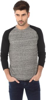 Basics Solid Men's Round Neck Black T-Shirt