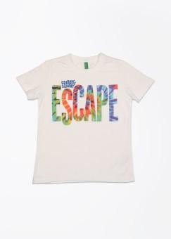 United Colors Of Benetton Printed Boy's Round Neck White T-Shirt - TSHEFT4YB9V3P5AK