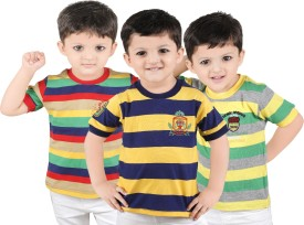 Yellow Dots Striped Boy's Round Neck T-Shirt Pack Of 3