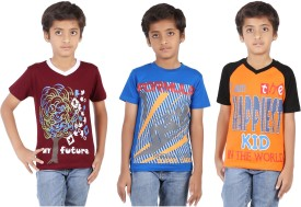 Maringo Classic Short Sleeve Printed Boy's Round Neck, V-neck T-Shirt Pack Of 3