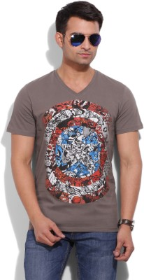 Marvel Marvel Printed Men's V-Neck T-Shirt (Grey)