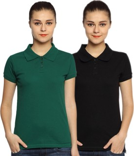 Go India Store Solid Women's Polo Neck Black, Dark Green T-Shirt Pack Of 2