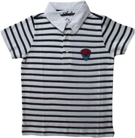 Globe Striped Boy's Polo Neck White, Black T-Shirt