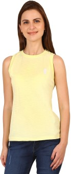 Run Of Luck Solid Women's Round Neck Yellow T-Shirt