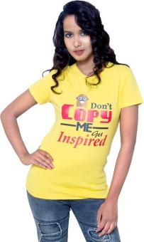 Kapdaclick.Com Yellow Printed Women's Round Neck T-Shirt