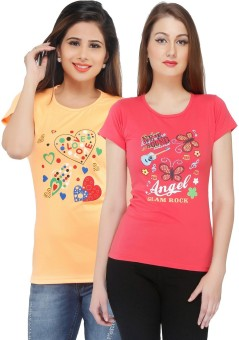 Jazzup Printed Women's Round Neck Yellow, Red T-Shirt Pack Of 2