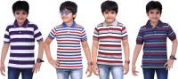 Dongli Striped Baby Boy's Polo Neck Purple, Blue, Dark Blue, Silver T-Shirt (Pack Of 4)