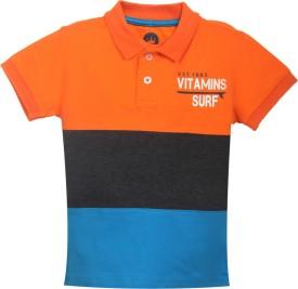 VITAMINS Graphic Print Baby Boy's Polo Neck Orange T-Shirt