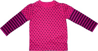 KishnMish Polka Print, Striped Girl's Round Neck T-Shirt