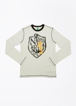 United Colors Of Benetton Printed Boy's Round Neck Beige, Dark Blue T-Shirt
