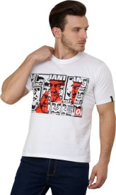 Espresso Printed Men's Round Neck White T-Shirt