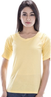 Peppermint Blues Solid Women's Round Neck Yellow T-Shirt