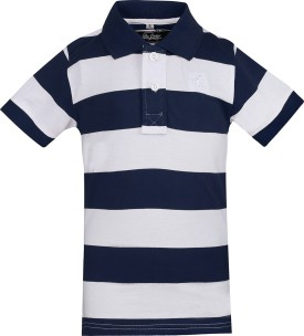 The Cotton Company Striped Boy's Polo Neck Blue, White T-Shirt