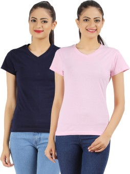Ap'pulse Solid Women's V-neck Dark Blue, Pink T-Shirt Pack Of 2