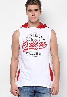 Ajile By Pantaloons Printed Men's Hooded T-Shirt