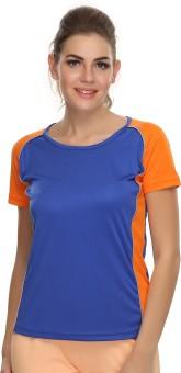 Clovia Solid Women's Round Neck Blue, Orange T-Shirt