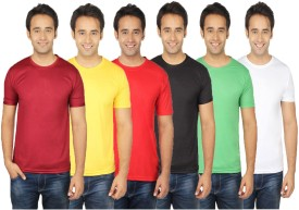 Quetzal Solid Men's Round Neck Multicolor T-Shirt