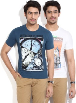 Fort Collins Printed Men's Round Neck White, Blue T-Shirt Pack Of 2