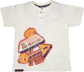 FS Mini Klub Printed Boy's Round Neck White T-Shirt