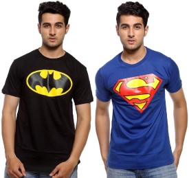 Pratham Graphic Print Boy's, Men's Round Neck Black, Blue T-Shirt Pack Of 2