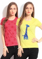 Style Quotient By Noi Printed Women's Round Neck T-Shirt - Pack Of 2 - TSHDTH8FP8NFP7PX
