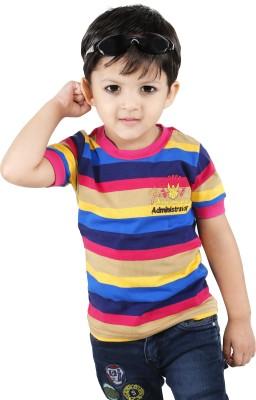 Yellow Dots Striped Boy's Round Neck T-Shirt