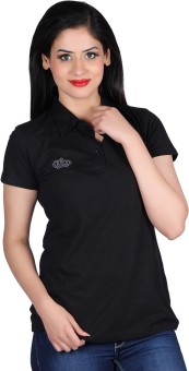 Vivid Bharti Cotton Sinker Black Polo Solid Women's Flap Collar Neck T-Shirt