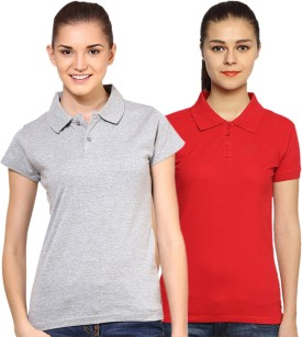 Go India Store Solid Women's Polo Neck Grey, Red T-Shirt Pack Of 2