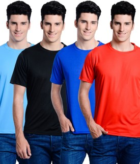 Superjoy Solid Men's Round Neck Light Blue, Black, Blue, Red T-Shirt Pack Of 4