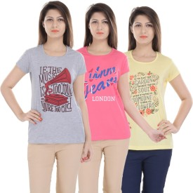 Une Mode Printed Women's Round Neck Grey, Yellow, Pink T-Shirt Pack Of 3