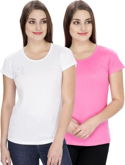 NGT Solid Women's Round Neck Pink, White T-Shirt Pack Of 2