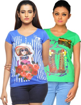 Jazzup Printed Women's V-neck Green, Blue T-Shirt Pack Of 2