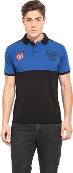 Western Vivid Solid Men's Polo Neck Blue, Black T-Shirt