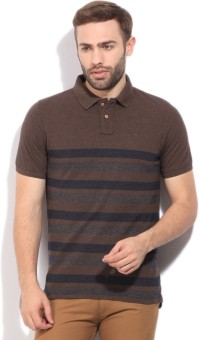 Peter England Striped Men's Polo Brown T-Shirt