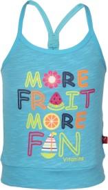 Vitamins Graphic Print Baby Girl's Round Neck Light Blue T-Shirt
