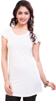 TVENO Solid Women's Round Neck White T-Shirt
