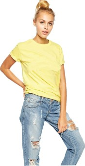 Young Trendz Solid Women's Round Neck Yellow T-Shirt