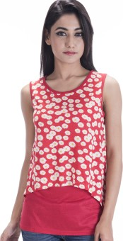 Amadore Floral Print Women's Round Neck Red T-Shirt