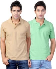 Top Notch Solid Men's Polo Neck Beige, Green T-Shirt
