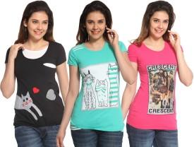 Maatra Printed Women's Round Neck Black, Green, Pink T-Shirt Pack Of 3